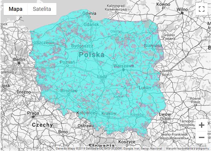 Mapa zasięgu LTE